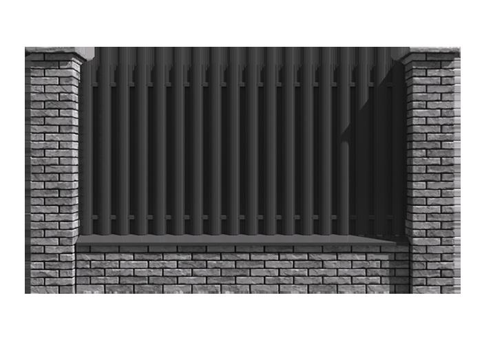 Євроштахетник з мурованими стовбами і фундаментом